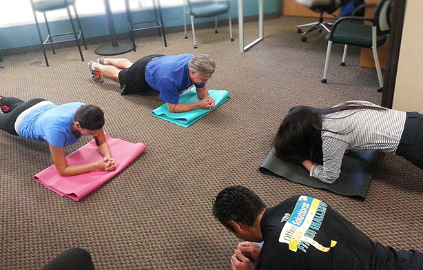 Our employees participate in our daily yoga workout