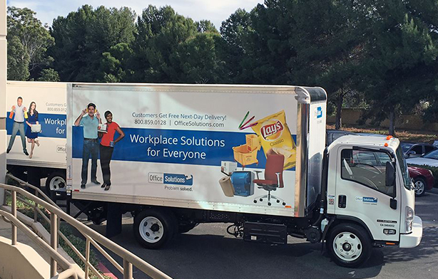 Our Office Solutions' trucks at our parking lot and ready to roll out with deliveries.